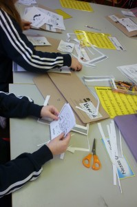 Children making mini books.