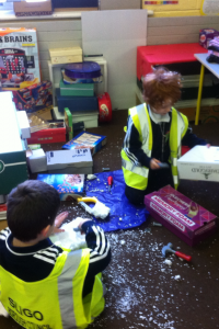 The polystyrene proved great for drilling through!