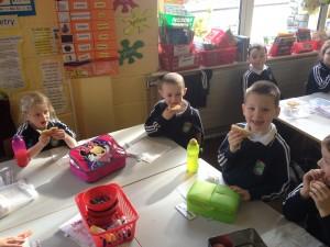 Enjoying pancakes on Pancake Tuesday!